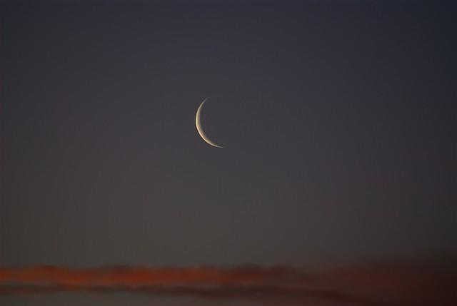 New moon at sunset