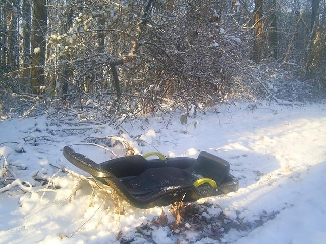 Childs Sled in the Snow