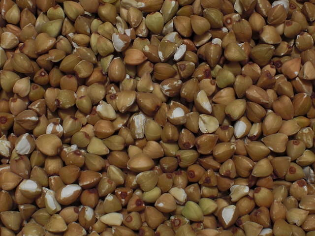 Buckwheat grain closeup