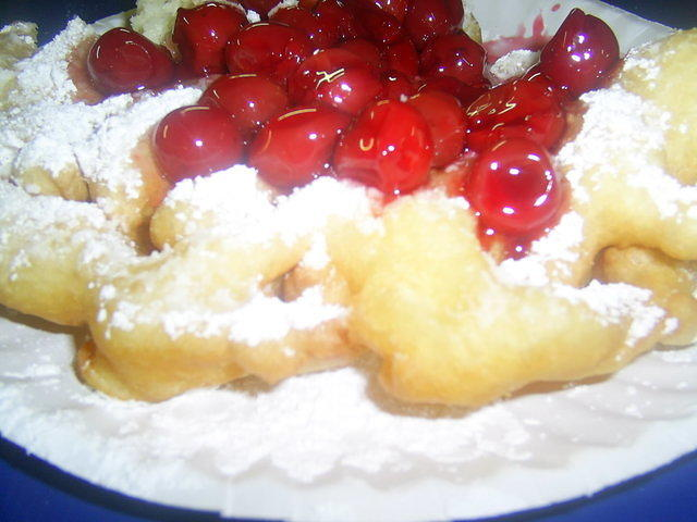 Cherry Funnel Cake