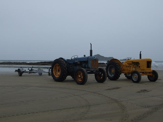 Tractors on Waimarama beach, Hawkes Bay, New Zealand