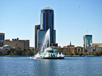 Lake Eola in Orlando Florida with fountain