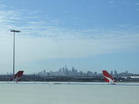 Sydney cityscape from the airport