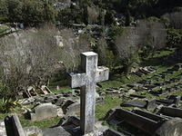 Cross with Graves, Karori Cemetery, Wellington, New Zealand