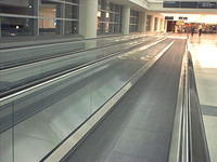 Moving sidewalk at Midway Airport in Chicago.