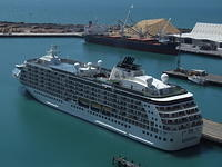 "Cruise Ship ""The World"" in the Port of Napier, New Zealand"