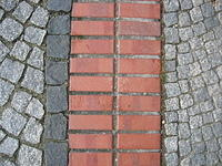 Paving stone and red bricks